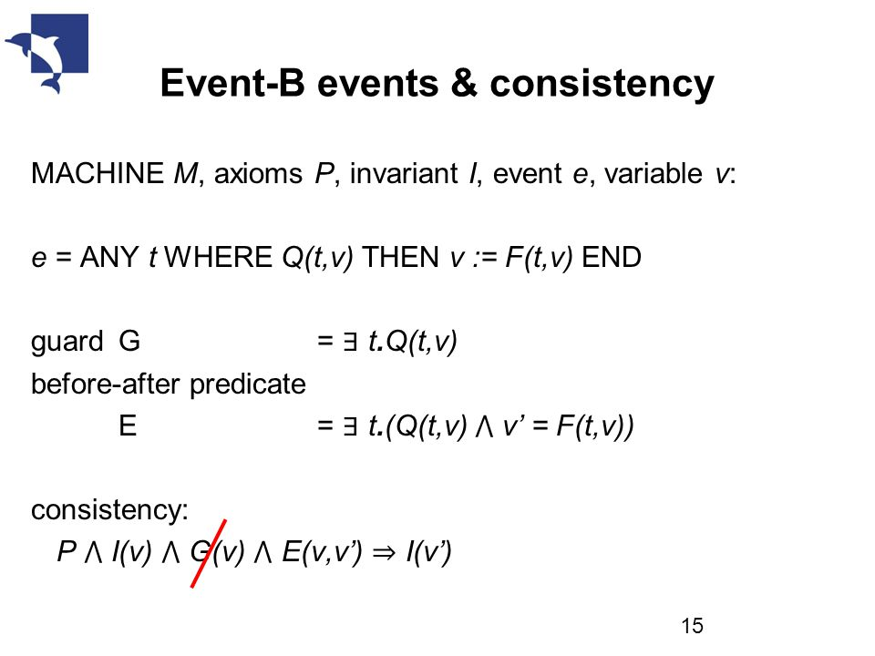 Event-B events & consistency MACHINE M, axioms P, invariant I, event e, variable v: e = ANY t WHERE Q(t,v) THEN v := F(t,v) END guard G = ∃ t.Q(t,v) before-after predicate E = ∃ t.(Q(t,v) ⋀ v' = F(t,v)) consistency: P ⋀ I(v) ⋀ G(v) ⋀ E(v,v') ⇒ I(v') 15