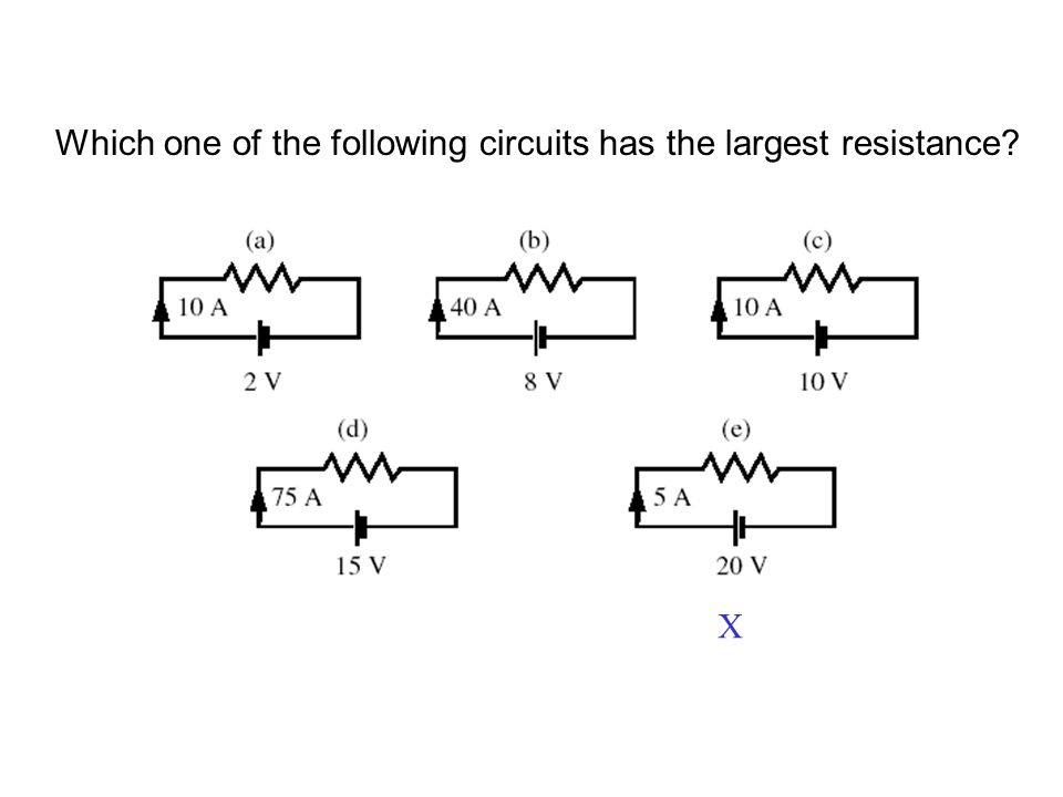 Which one of the following circuits has the largest resistance X