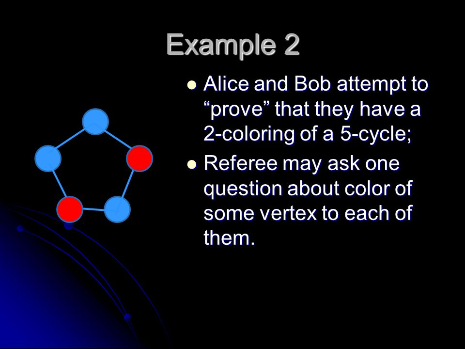 Example 2 Alice and Bob attempt to prove that they have a 2-coloring of a 5-cycle; Alice and Bob attempt to prove that they have a 2-coloring of a 5-cycle; Referee may ask one question about color of some vertex to each of them.