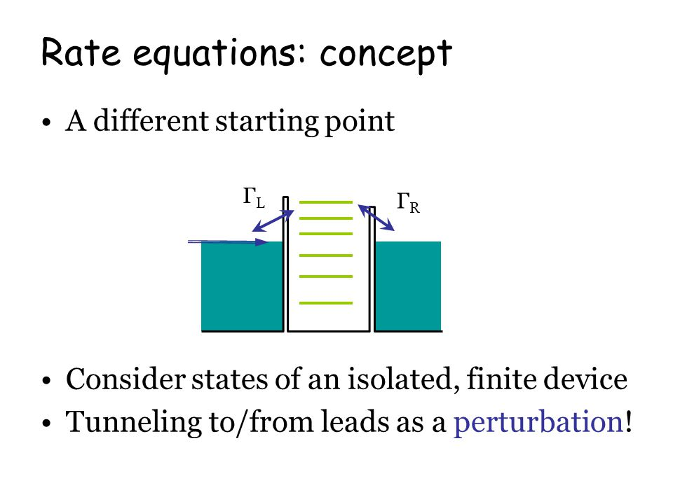 A different starting point Consider states of an isolated, finite device Tunneling to/from leads as a perturbation.