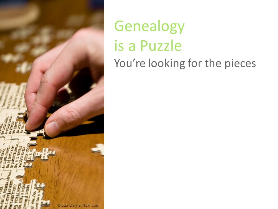 Genealogy is a Puzzle You're looking for the pieces © Liza Daly at flickr.com