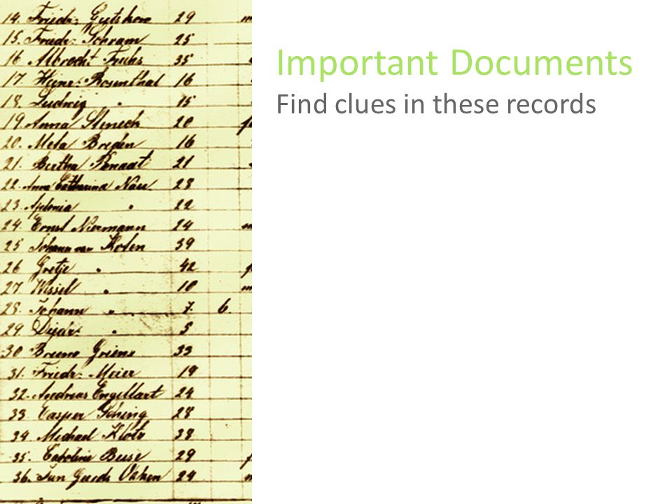 Important Documents Find clues in these records Federal Census returns Passenger lists Naturalization papers Birth, marriage, and death records (BMD)