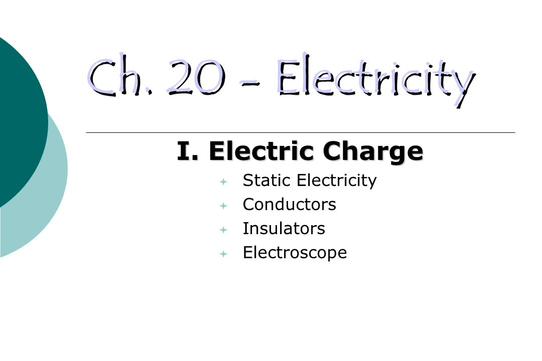Ch. 20 - Electricity I.