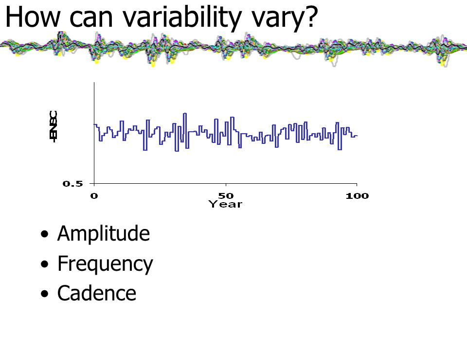How can variability vary Amplitude Frequency Cadence