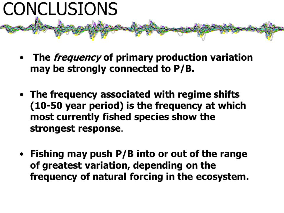 CONCLUSIONS The frequency of primary production variation may be strongly connected to P/B.