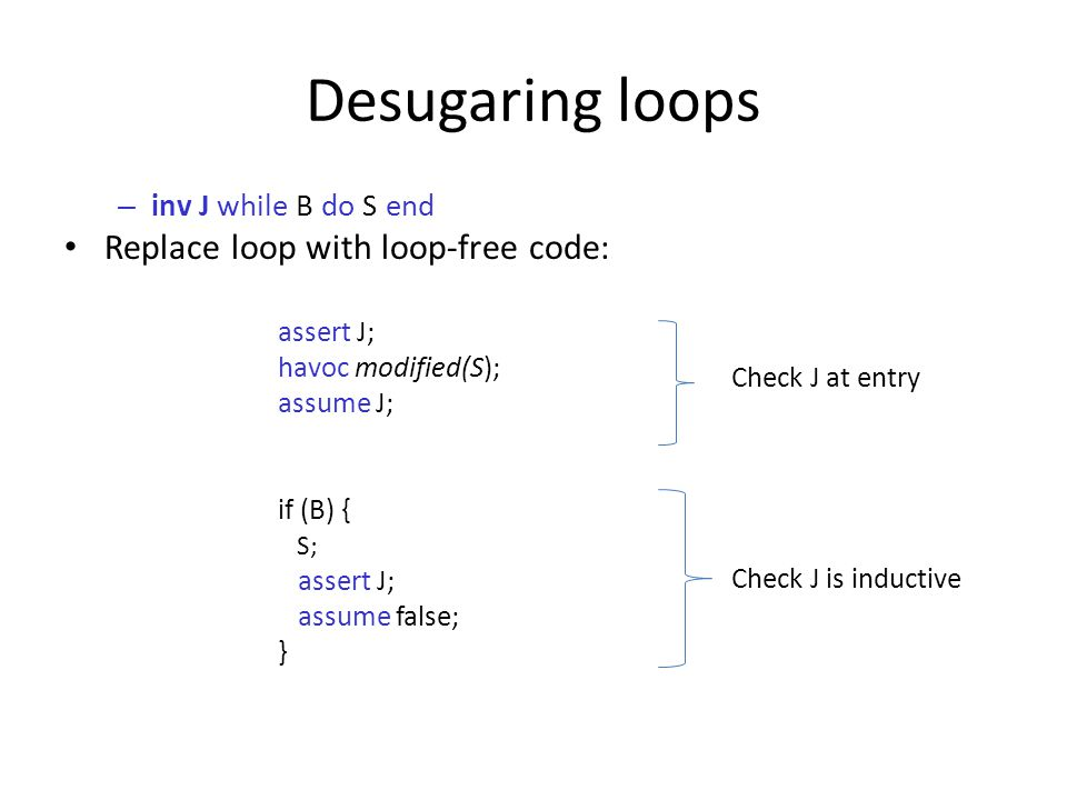 Desugaring loops – inv J while B do S end Replace loop with loop-free code: assert J; havoc modified(S); assume J; if (B) { S; assert J; assume false; } Check J at entry Check J is inductive