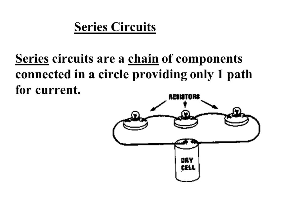 Series Circuits Series circuits are a chain of components connected in a circle providing only 1 path for current.