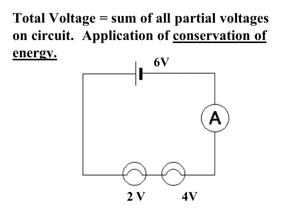 Total Voltage = sum of all partial voltages on circuit.