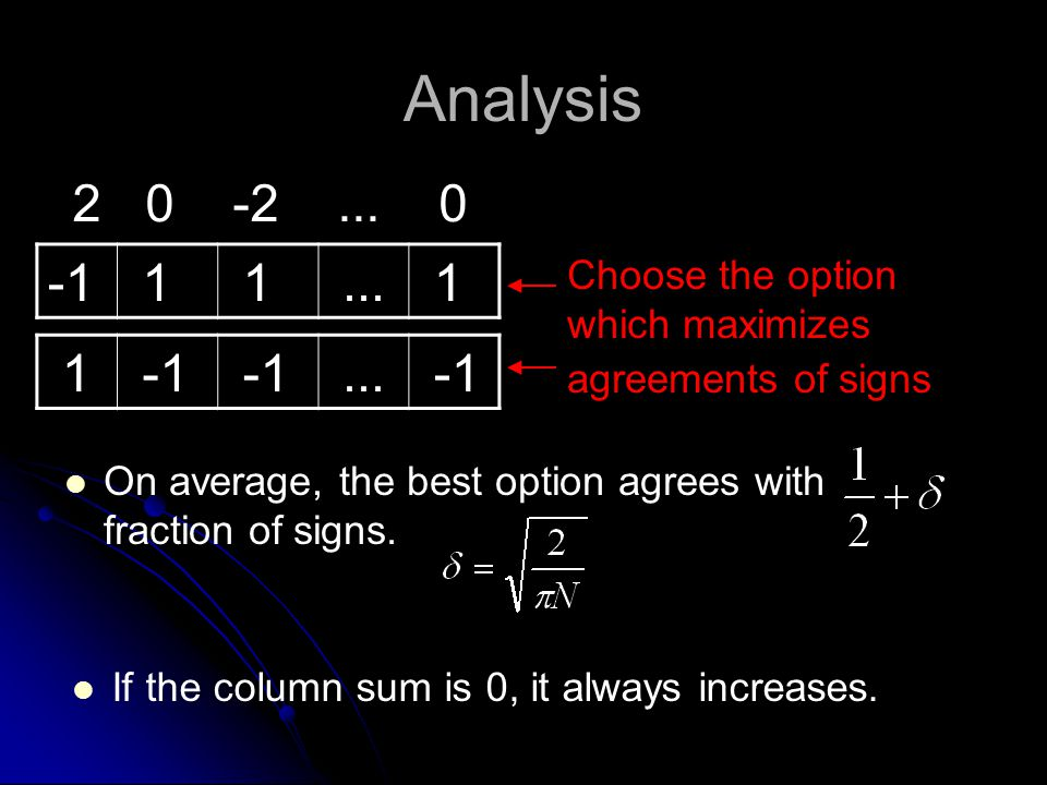 Analysis On average, the best option agrees with fraction of signs.