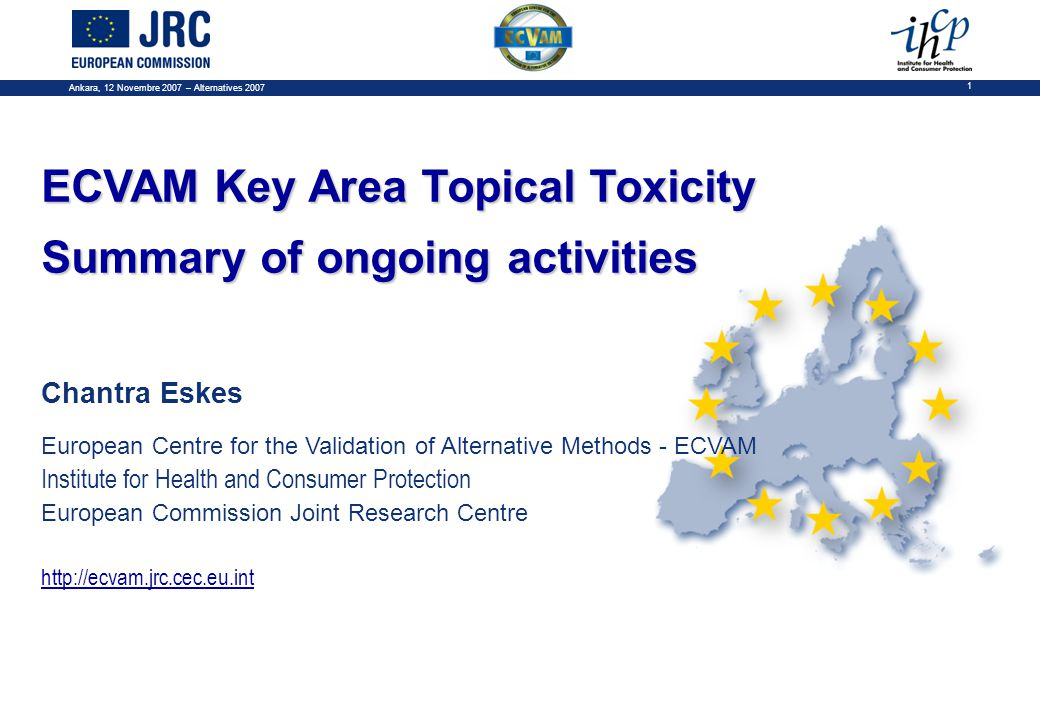 Ankara, 12 Novembre 2007 – Alternatives 2007 1 ECVAM Key Area Topical Toxicity Summary of ongoing activities Chantra Eskes European Centre for the Validation of Alternative Methods - ECVAM Institute for Health and Consumer Protection European Commission Joint Research Centre http://ecvam.jrc.cec.eu.int