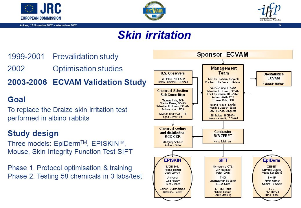 Ankara, 12 Novembre 2007 – Alternatives 2007 10 1999-2001Prevalidation study 2002Optimisation studies 2003-2006ECVAM Validation Study Goal To replace the Draize skin irritation test performed in albino rabbits Study design Three models: EpiDerm TM, EPISKIN TM, Mouse, Skin Integrity Function Test SIFT Phase 1.