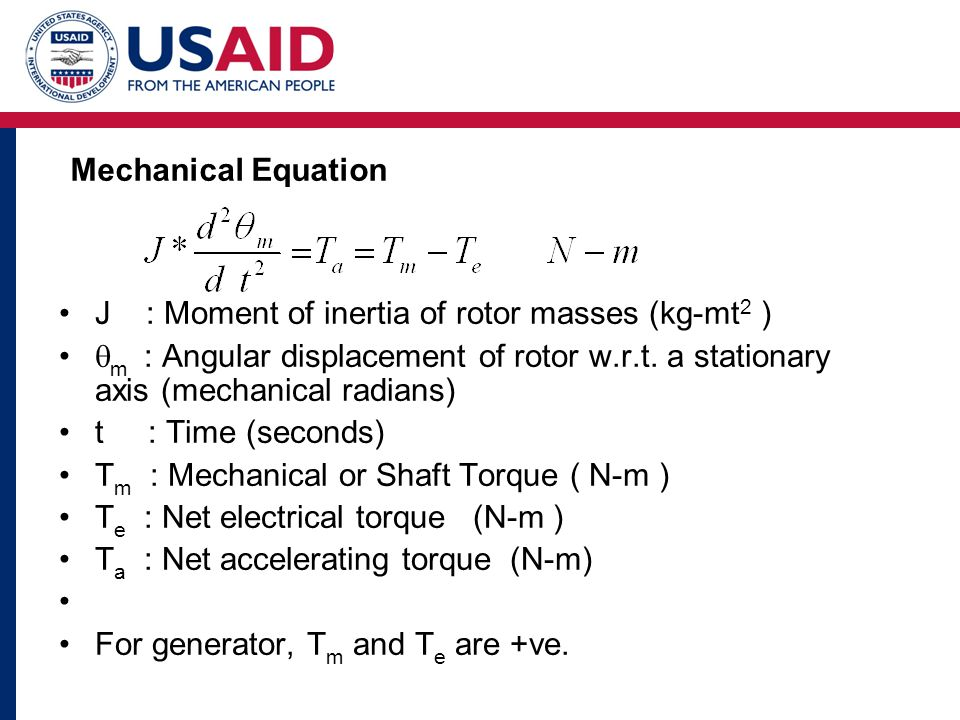 J : Moment of inertia of rotor masses (kg-mt 2 )  m : Angular displacement of rotor w.r.t.