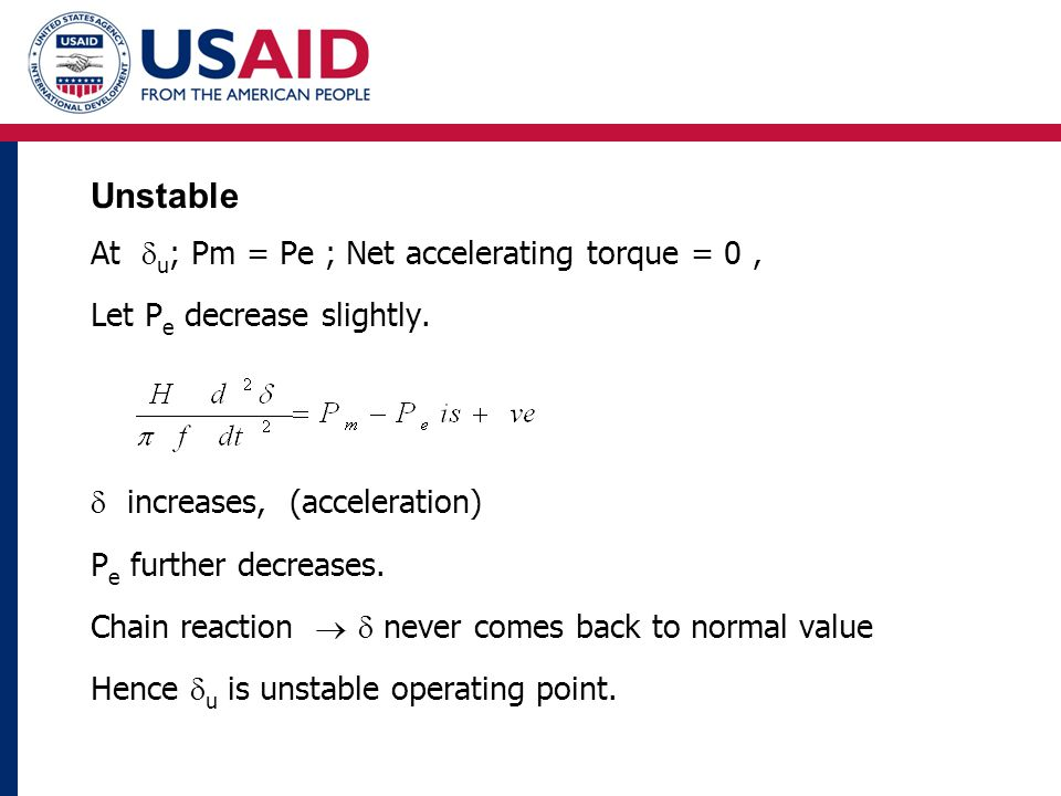 Unstable At  u ; Pm = Pe ; Net accelerating torque = 0, Let P e decrease slightly.