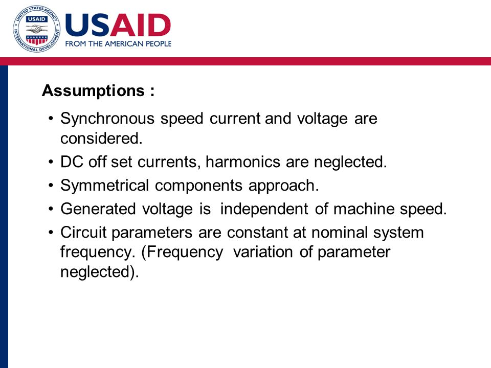 Assumptions : Synchronous speed current and voltage are considered.