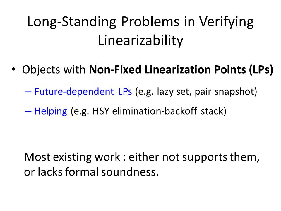 Long-Standing Problems in Verifying Linearizability Objects with Non-Fixed Linearization Points (LPs) – Future-dependent LPs (e.g.