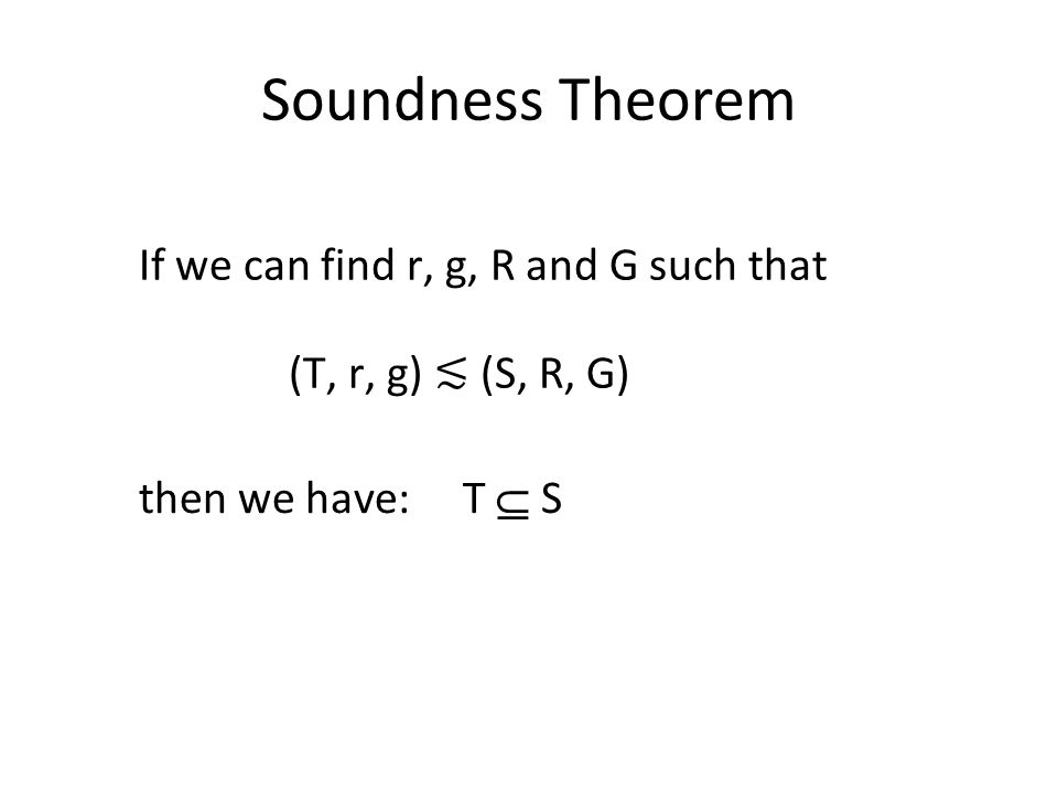 Soundness Theorem (T, r, g) ≲ (S, R, G) If we can find r, g, R and G such that then we have: T  S