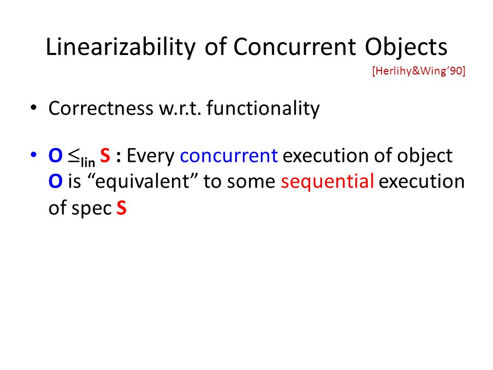 Linearizability of Concurrent Objects Correctness w.r.t.