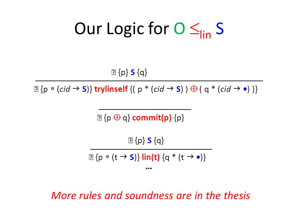 Our Logic for O  lin S ┝ {p  (t  S)} lin(t) {q * (t   )} ┝ {p} S {q} ┝ {p  (cid  S)} trylinself {( p * (cid  S) )  ( q * (cid   ) )} ┝ {p} S {q} ┝ {p  q} commit(p) {p} … More rules and soundness are in the thesis