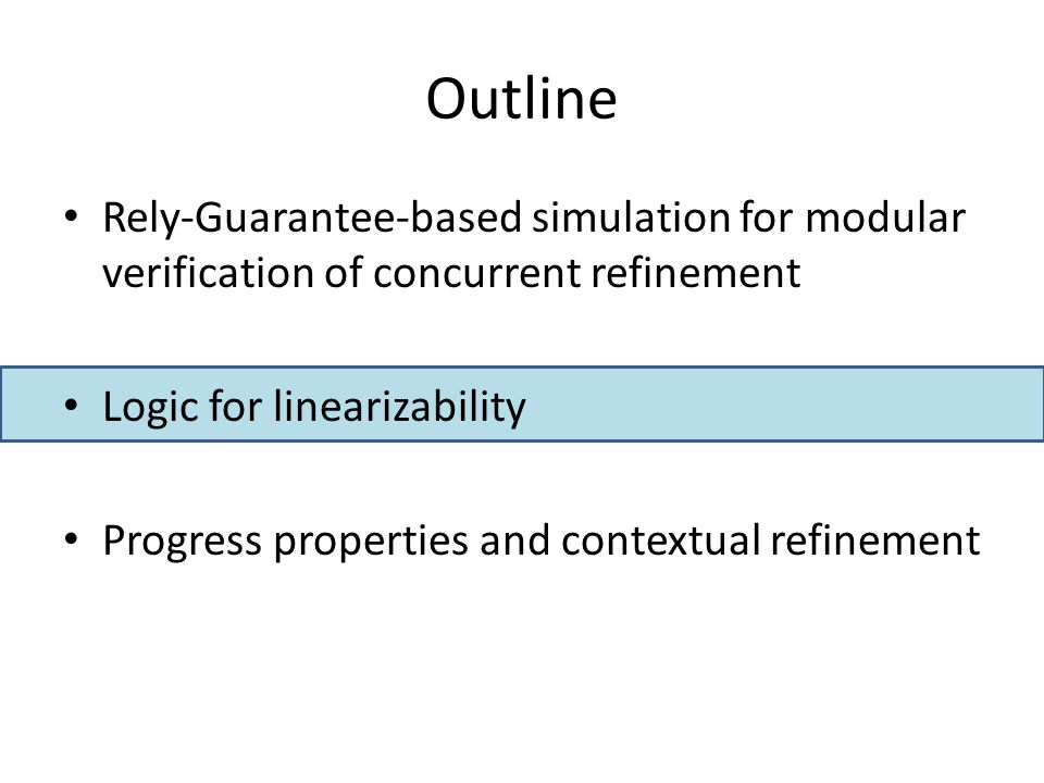 Outline Rely-Guarantee-based simulation for modular verification of concurrent refinement Logic for linearizability Progress properties and contextual refinement