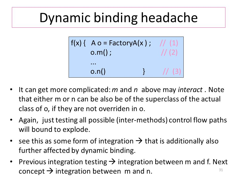 Dynamic binding headache It can get more complicated: m and n above may interact.