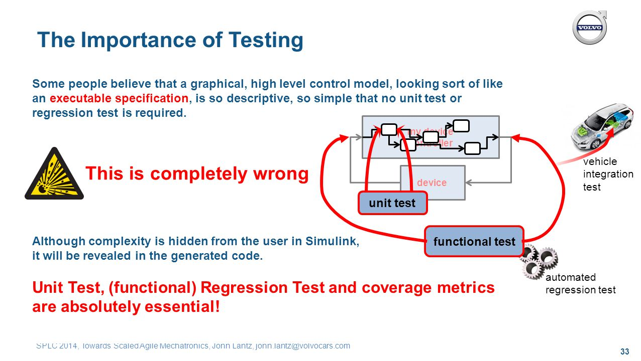 33 SPLC 2014, Towards Scaled Agile Mechatronics, Jonn Lantz, jonn.lantz@volvocars.com my device controller device The Importance of Testing Some people believe that a graphical, high level control model, looking sort of like an executable specification, is so descriptive, so simple that no unit test or regression test is required.