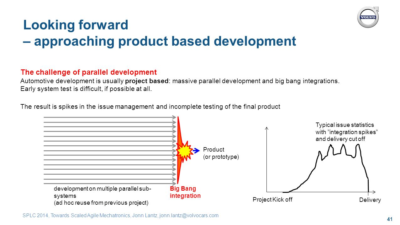 41 SPLC 2014, Towards Scaled Agile Mechatronics, Jonn Lantz, jonn.lantz@volvocars.com Looking forward – approaching product based development The challenge of parallel development Automotive development is usually project based: massive parallel development and big bang integrations.