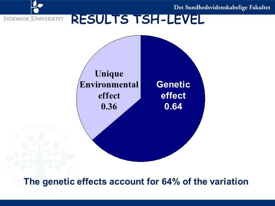 Unique Environmental effect 0.36 Genetic effect 0.64 The genetic effects account for 64% of the variation RESULTS TSH-LEVEL