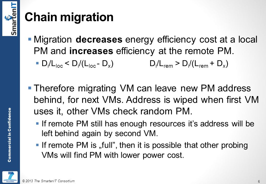 © 2013 The SmartenIT Consortium 6 Commercial in Confidence Chain migration  Migration decreases energy efficiency cost at a local PM and increases efficiency at the remote PM.