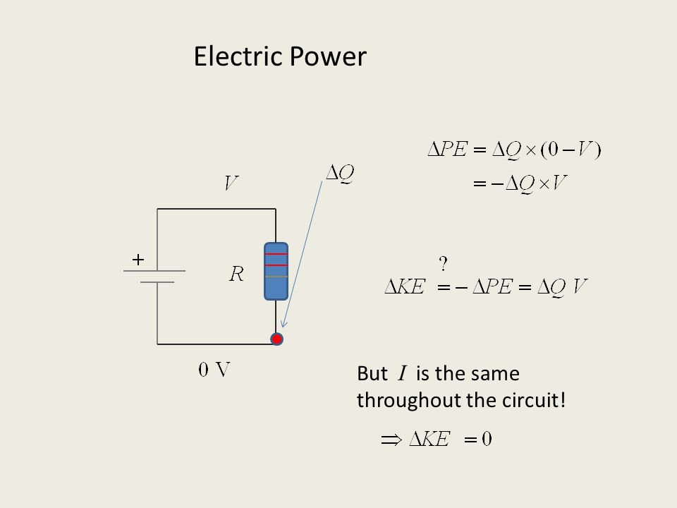 But I is the same throughout the circuit! Electric Power