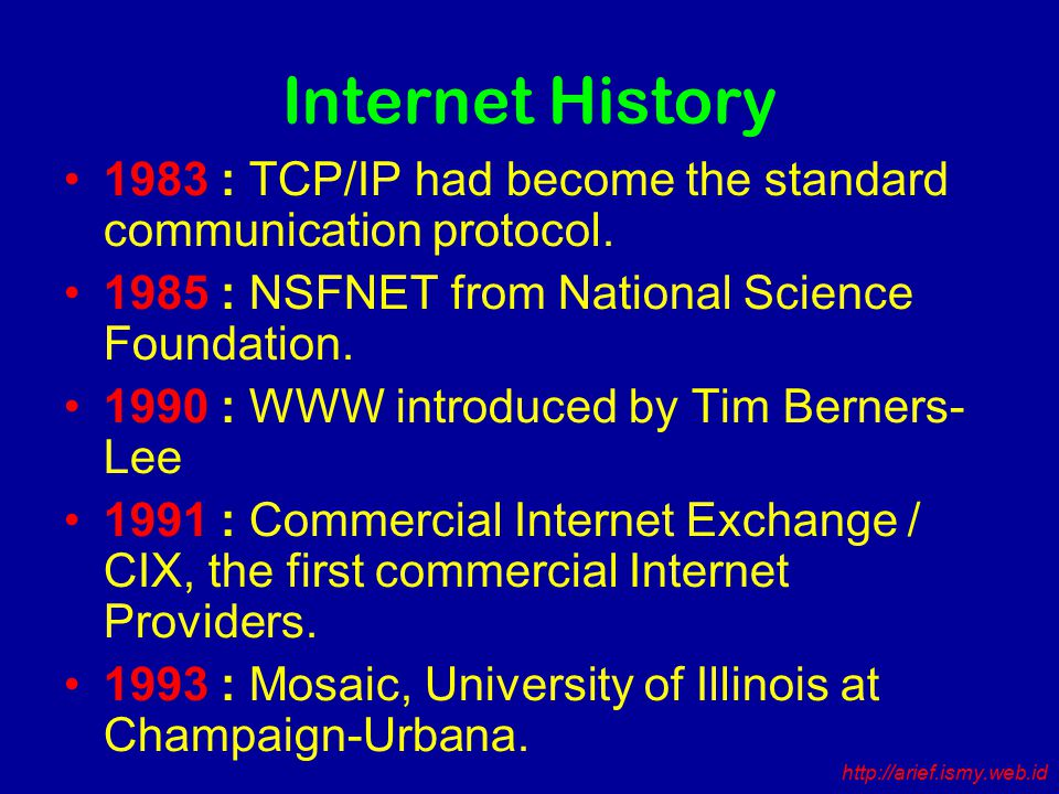 Internet History 1983 : TCP/IP had become the standard communication protocol.