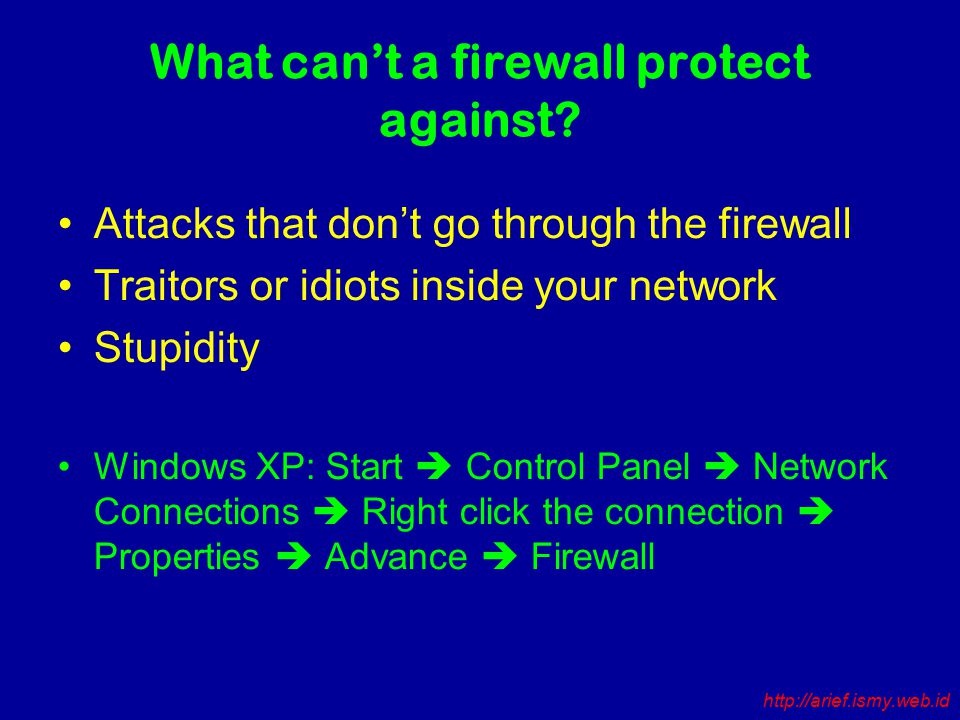 What can't a firewall protect against.