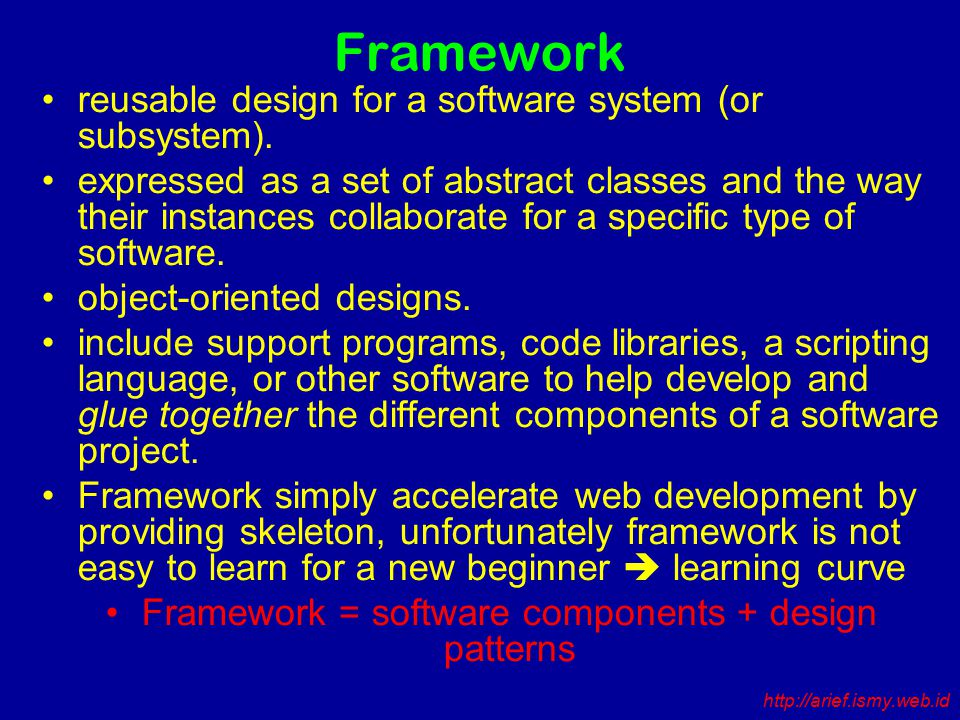 Framework reusable design for a software system (or subsystem).