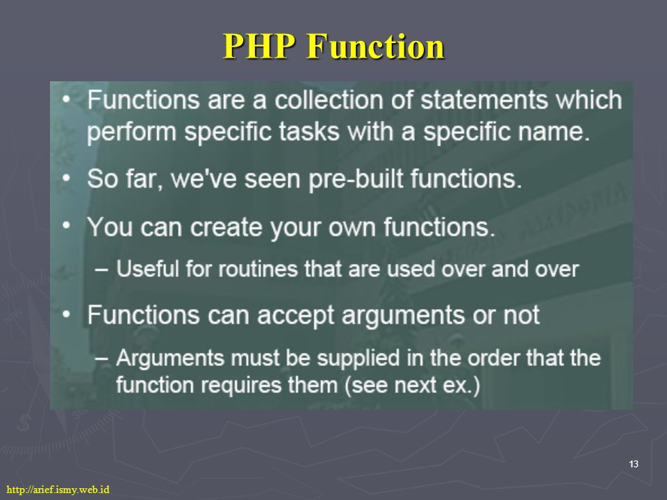 13 PHP Function http://arief.ismy.web.id