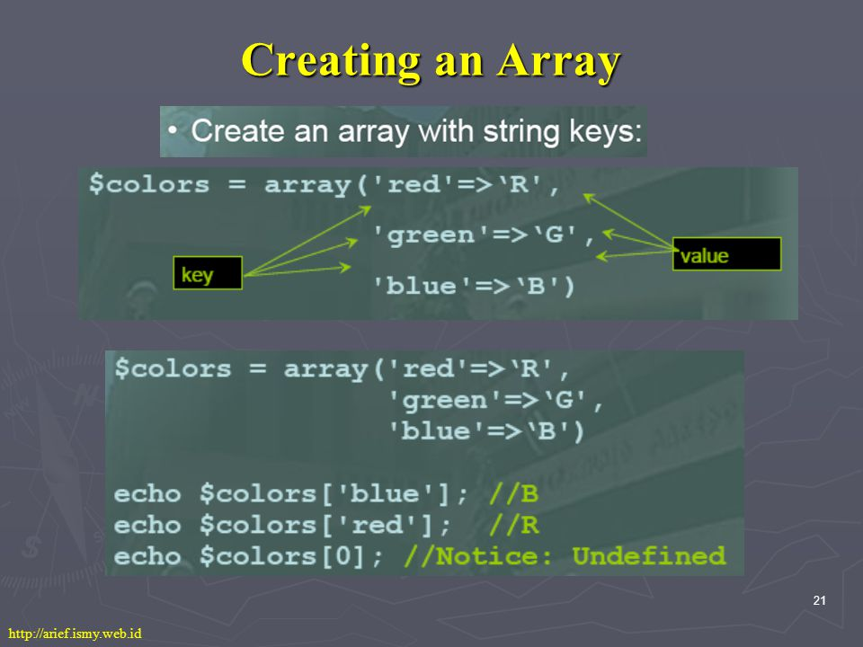 21 Creating an Array http://arief.ismy.web.id