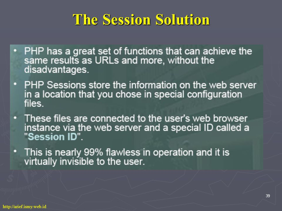39 The Session Solution http://arief.ismy.web.id