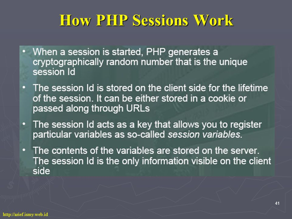 41 How PHP Sessions Work http://arief.ismy.web.id