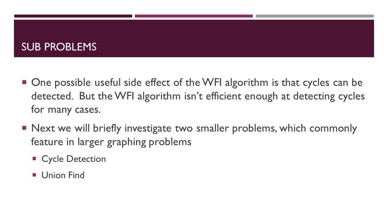 SUB PROBLEMS  One possible useful side effect of the WFI algorithm is that cycles can be detected.