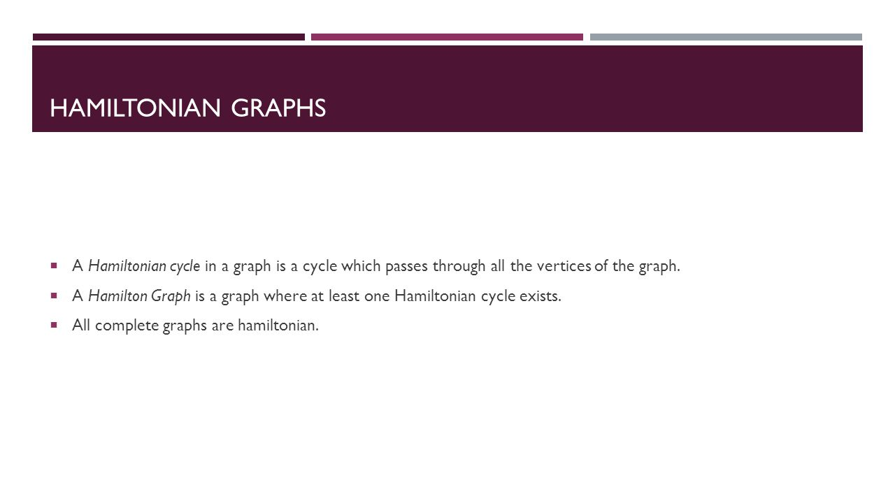 HAMILTONIAN GRAPHS  A Hamiltonian cycle in a graph is a cycle which passes through all the vertices of the graph.