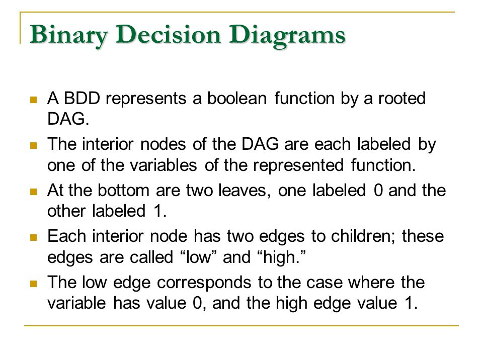 Binary Decision Diagrams A BDD represents a boolean function by a rooted DAG.