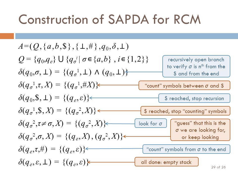 Construction of SAPDA for RCM of 26 29 A=(Q,{a,b,$},{ ⊥,#},q 0,δ, ⊥ ) Q = {q 0,q e } ⋃ {q σ i | σ ∊ {a, b}, i ∊ {1, 2}} δ(q 0,σ, ⊥ ) = {(q σ 1, ⊥ ) ∧ (q 0, ⊥ )} δ(q σ 1,τ, X) = {(q σ 1,#X)} δ(q 0,$, ⊥ ) = {(q e, ε)} δ(q σ 1,$, X) = {(q σ 2, X)} δ(q σ 2,τ  σ, X) = {(q σ 2, X)} δ(q σ 2,σ, X) = {(q e, X), (q σ 2, X)} δ(q e,τ,#) = {(q e, ε)} δ(q e, ε, ⊥ ) = {(q e, ε)} recursively open branch to verify σ is n th from the $ and from the end count symbols between σ and $ $ reached, stop recursion $ reached, stop counting symbols look for σ guess that this is the σ we are looking for, or keep looking count symbols from σ to the end all done: empty stack