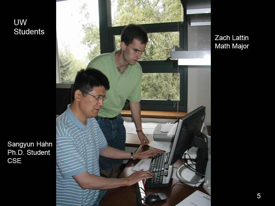 7 5 Sangyun Hahn Ph.D. Student CSE Zach Lattin Math Major UW Students