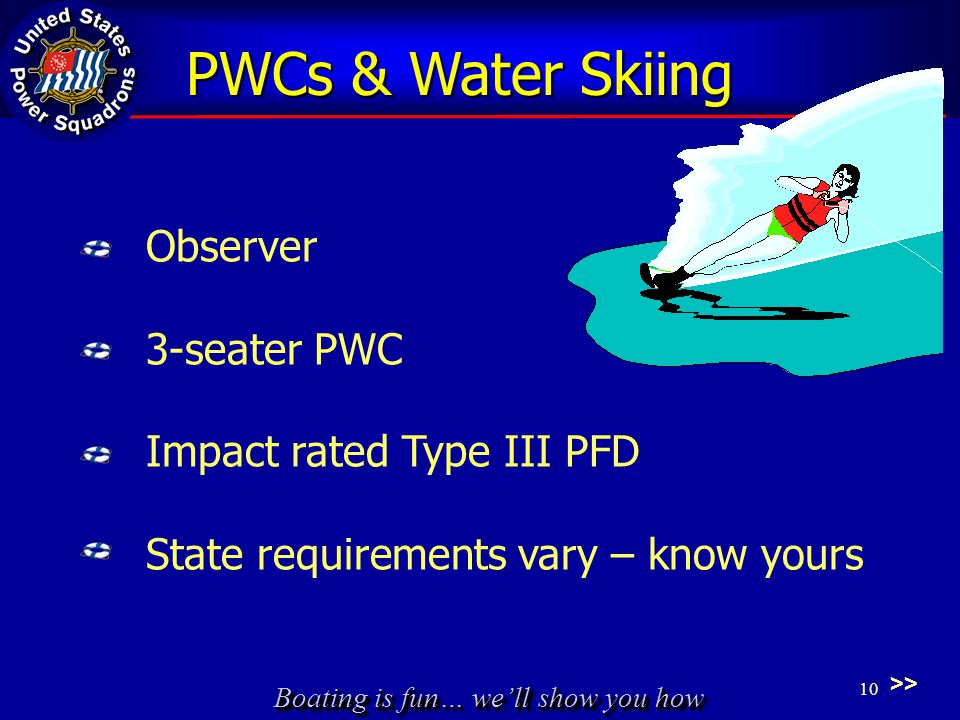 Boating is fun… we'll show you how Observer 3-seater PWC Impact rated Type III PFD State requirements vary – know yours >> PWCs & Water Skiing 10