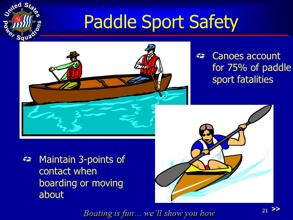 Boating is fun… we'll show you how Paddle Sport Safety Canoes account for 75% of paddle sport fatalities Maintain 3-points of contact when boarding or moving about >> 21