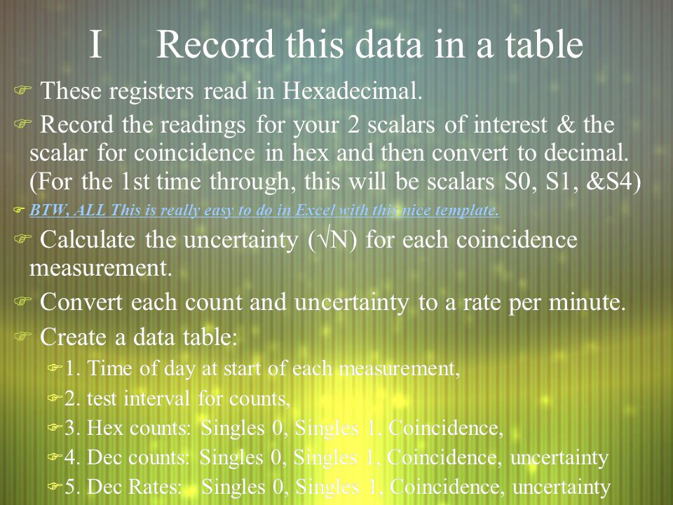 IRecord this data in a table F These registers read in Hexadecimal.