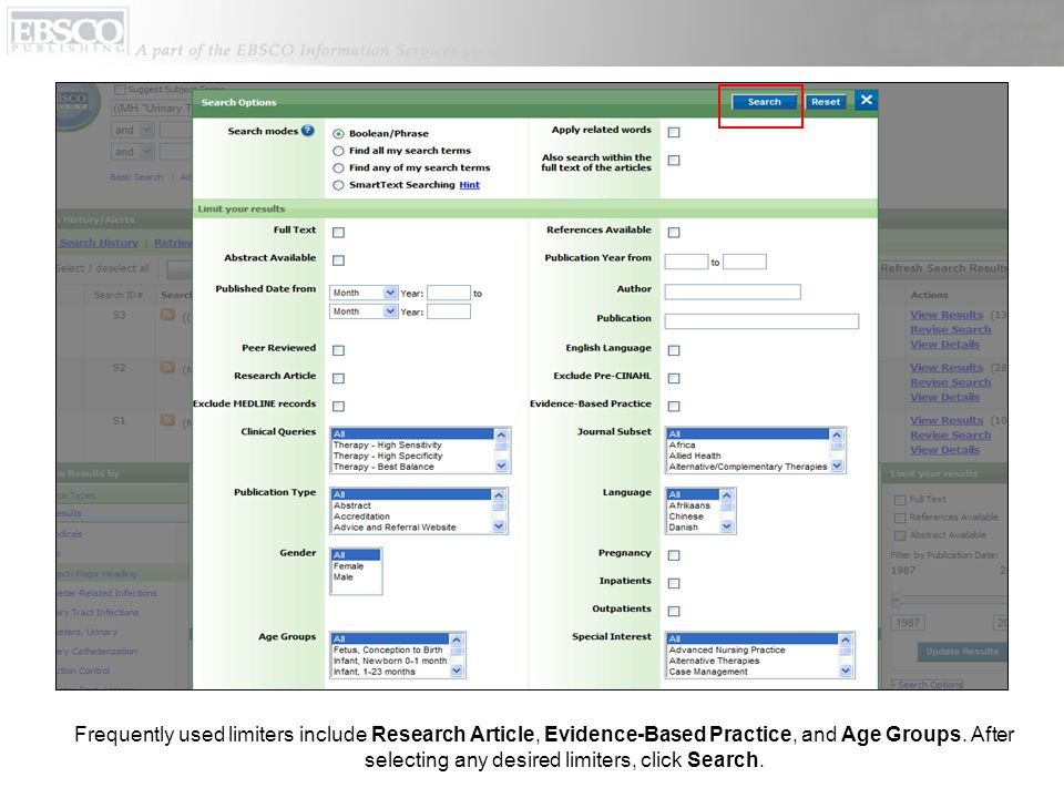 Frequently used limiters include Research Article, Evidence-Based Practice, and Age Groups.