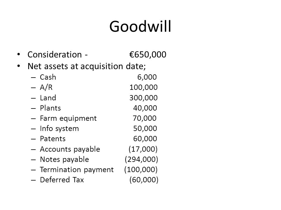 Goodwill Consideration - €650,000 Net assets at acquisition date; – Cash 6,000 – A/R100,000 – Land300,000 – Plants 40,000 – Farm equipment 70,000 – Info system 50,000 – Patents 60,000 – Accounts payable (17,000) – Notes payable (294,000) – Termination payment (100,000) – Deferred Tax(60,000)