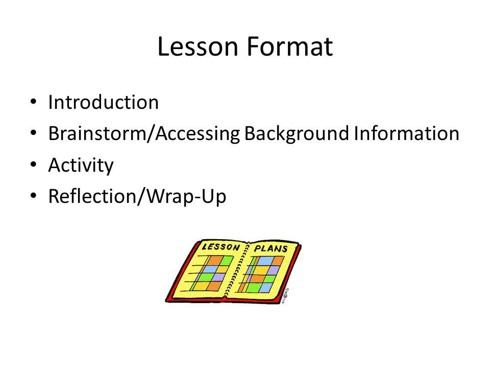 Lesson Format Introduction Brainstorm/Accessing Background Information Activity Reflection/Wrap-Up