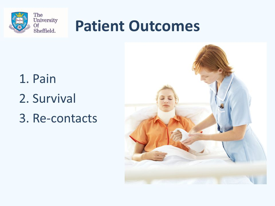 Patient Outcomes 1. Pain 2. Survival 3. Re-contacts