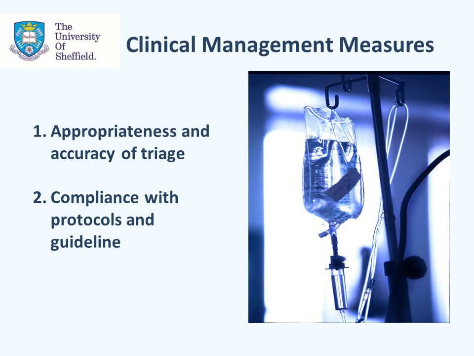 Clinical Management Measures 1.Appropriateness and accuracy of triage 2.Compliance with protocols and guideline