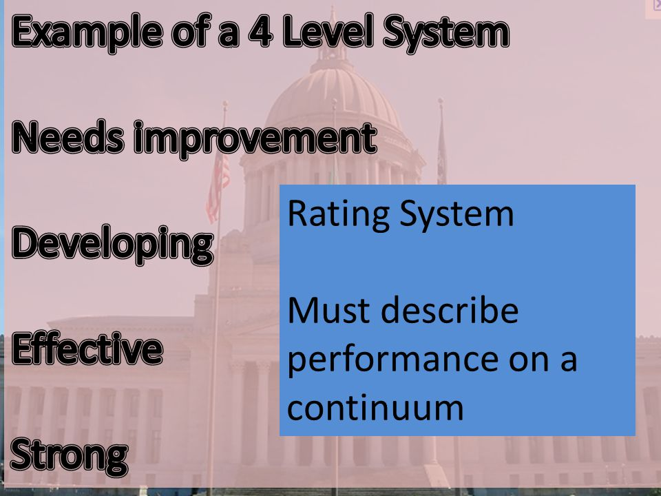 Rating System Must describe performance on a continuum
